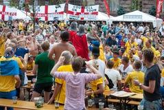 Sverige fans i euroet 2012 Arkivbilder