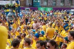 Sverige fans i euroet 2012 Royaltyfri Foto