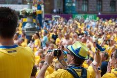 Sverige fans i euroet 2012 Fotografering för Bildbyråer