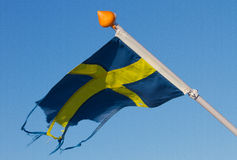 Sverige. Flag of Sweden in a blue sky Royalty Free Stock Photography