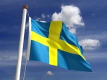 Sverige flagga (med clippingbanan) Royaltyfri Fotografi