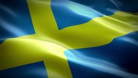 Sverige flaggavideo som vinkar i vind Realistisk svensk flaggabakgrund Sverige flagga som kretsar full HD 1920X1080 längd i fot r royaltyfri illustrationer