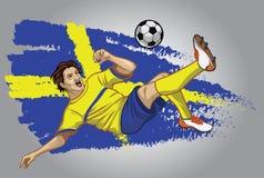 Sverige fotbollspelare med flaggan som en bakgrund Fotografering för Bildbyråer