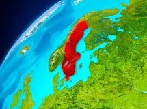 Sverige på jord från utrymme Royaltyfri Fotografi