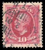 Sverige - stämpel 1891: Färgupplagan på statschefer, visar konungen Oscar The Second arkivbilder