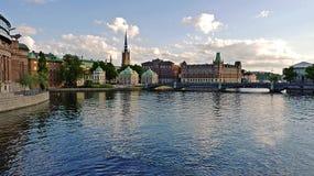 Sverige Stockholm, sikt av staden och dess slottar Arkivfoto