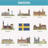 Sverige. Symboler av städer royaltyfri illustrationer