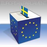 Sverige, val för europeisk parlament, valurna och flagga vektor illustrationer