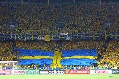 Sverige ventilatorer på NSC-OSstadionen Royaltyfri Foto