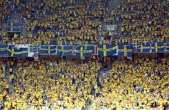 Sverige ventilatorer på NSC-OSstadionen Fotografering för Bildbyråer