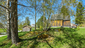 Sverresborg Folk Museum, Trondheim, Norway. The park with old timber house   in Sverresborg Folk Museum Stock Images