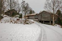 Sverresborg het etnografische dorp Stock Foto