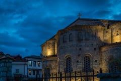 Sveta Sofija old church in Ohrid at night royalty free stock image
