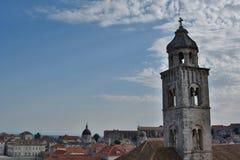 Sveti塞巴斯蒂安教会从墙壁的belltower视图 杜布罗夫尼克市 克罗地亚 免版税图库摄影