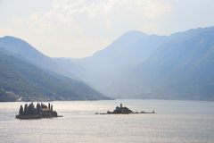 Sveti Dorde and Our Lady of the Rocks, Montenegro. Kotor bay, Cattaro, is a winding bay of the Adriatic Sea in southwestern Montenegro Royalty Free Stock Photos