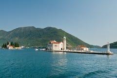 Sveti Dordje and Gospa od Skrpjela. Bay of Kotor. Stock Photo