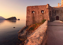 Sveti Nikola Island From Budva Old Town Royalty Free Stock Images