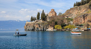 Sveti (Saint) Jovan Kaneo Church on Lake Ohrid Stock Photo