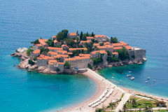 Sveti Stefan. An island city and a popular resort in Montenegro Royalty Free Stock Photo