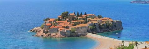 Sveti Stefan. Panorama of Sveti Stefan islet  in Adriatic sea Royalty Free Stock Images