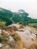 Sveti Stefan, Ansicht vom Berg Stockfotografie