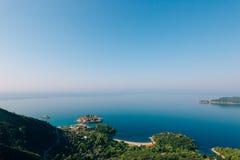 Sveti Stefan, Ansicht vom Berg Stockbilder