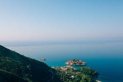 Sveti Stefan, Ansicht vom Berg Stockfotos