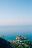 Sveti Stefan, Ansicht vom Berg Stockbild