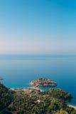 Sveti Stefan, Ansicht vom Berg Stockfoto