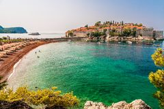 Sveti Stefan beach on the Adriatic Sea, Montenegro Stock Photos
