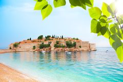 Sveti Stefan from the beach Royalty Free Stock Photo