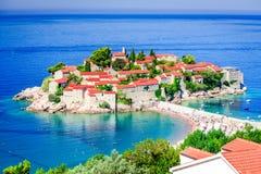 Sveti Stefan, Budva - Montenegro, adriatisches Meer Lizenzfreies Stockfoto