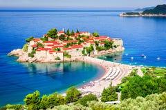 Sveti Stefan, Budva - Montenegro, adriatisches Meer Stockbild