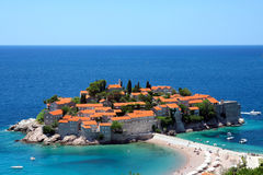 Sveti Stefan in daylight Royalty Free Stock Photo