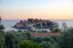 The Sveti Stefan fortified village in Montenegro Stock Photos