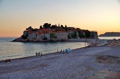 The Sveti Stefan fortified village in Montenegro Royalty Free Stock Photos