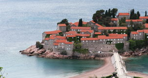Sveti Stefan Hotel Island in Budva, Montenegro stock video