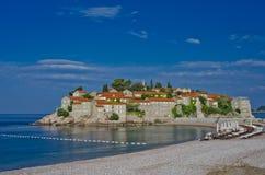 Sveti Stefan Insel Montenegro-Hotel und -erholungsort Adriatisches Meer b Stockbilder