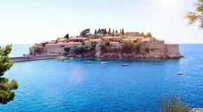 Sveti Stefan Insel nahe Budva, Montenegro Stockfotos