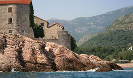 Sveti Stefan island. View of coastline Sveti Stefan island (Montenegro Stock Images