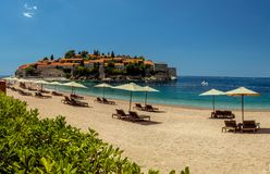 Sveti Stefan island in Budva in a beautiful summer day, Montenegro royalty free stock images