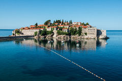 Sveti Stefan island, Budva, Montenegro. Sveti Stefan, now Aman Sveti Stefan is a small islet and hotel resort in Montenegro, approximately 6 kilometres (3.7 mi) Royalty Free Stock Photos