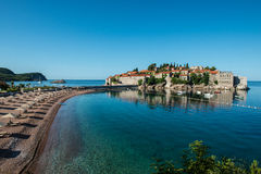Sveti Stefan island, Budva, Montenegro. Sveti Stefan, now Aman Sveti Stefan is a small islet and hotel resort in Montenegro, approximately 6 kilometres (3.7 mi) Royalty Free Stock Image