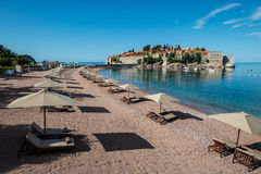 Sveti Stefan island, Budva, Montenegro. Sveti Stefan, now Aman Sveti Stefan is a small islet and hotel resort in Montenegro, approximately 6 kilometres (3.7 mi) Royalty Free Stock Images