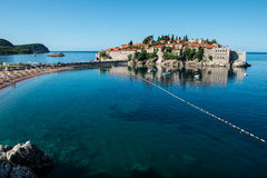 Sveti Stefan island, Budva, Montenegro. Sveti Stefan, now Aman Sveti Stefan is a small islet and hotel resort in Montenegro, approximately 6 kilometres (3.7 mi) Royalty Free Stock Photo