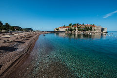 Sveti Stefan island, Budva, Montenegro. Sveti Stefan, now Aman Sveti Stefan is a small islet and hotel resort in Montenegro, approximately 6 kilometres (3.7 mi) Royalty Free Stock Photography