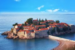 Sveti Stefan island in Budva Stock Photography