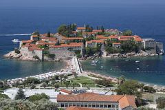 Sveti Stefan Island on the coast of the Adriatic Sea in Montenegro Stock Photos