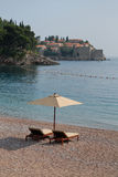 Sveti Stefan island in Montenegro. Beach Sveti Stefan in Montenegro Stock Photos