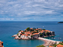 Sveti-Stefan island in Montenegro from above Royalty Free Stock Images